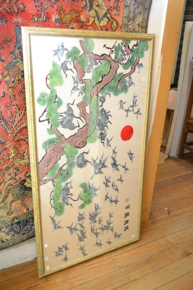 A JAPANESE SILK NEEDLE WORK WITH CRANE MOTIFS