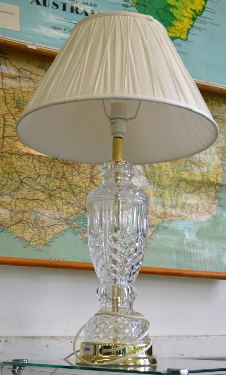 A CRYSTAL TABLE LAMP AND SHADE