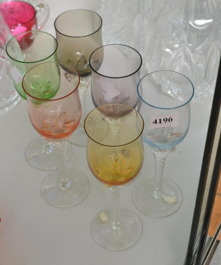 A SET OF SIX CZECH LIQUOR GLASSES