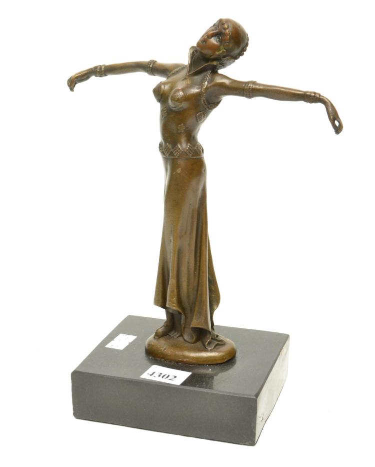 AN ART DECO STYLE BRONZE DANCER ON A MARBLE BASE, AFTER CHIPARUS