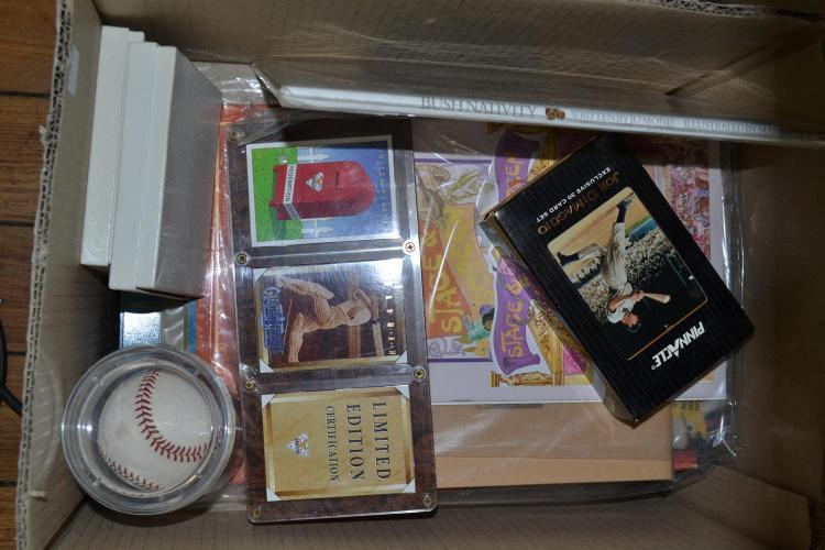 ONE BOX OF STAMPS AND FIRST DAY COVER ALBUMS