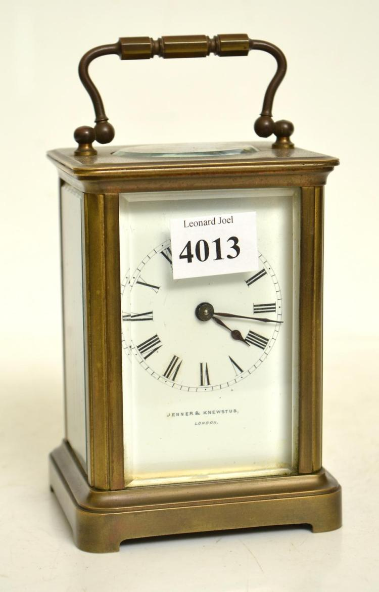 1890S FRENCH BRASS CARRIAGE CLOCK RETAILED BY JENNER AND KEWSTUB LONDON WITH KEY- WORKING