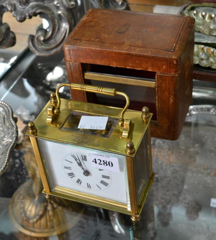 FINE 1890S FRENCH BRASS CARRIGE CLOCK IN CASE WITH KEY-WORKING WITH PROTECTIVE GLASS