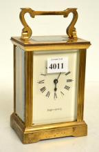 19TH CENTURY FRENCH BRASS CARRIAGE CLOCK. RETAILED BY MAPPIN AND WEBB, IN WORKING ORDER
