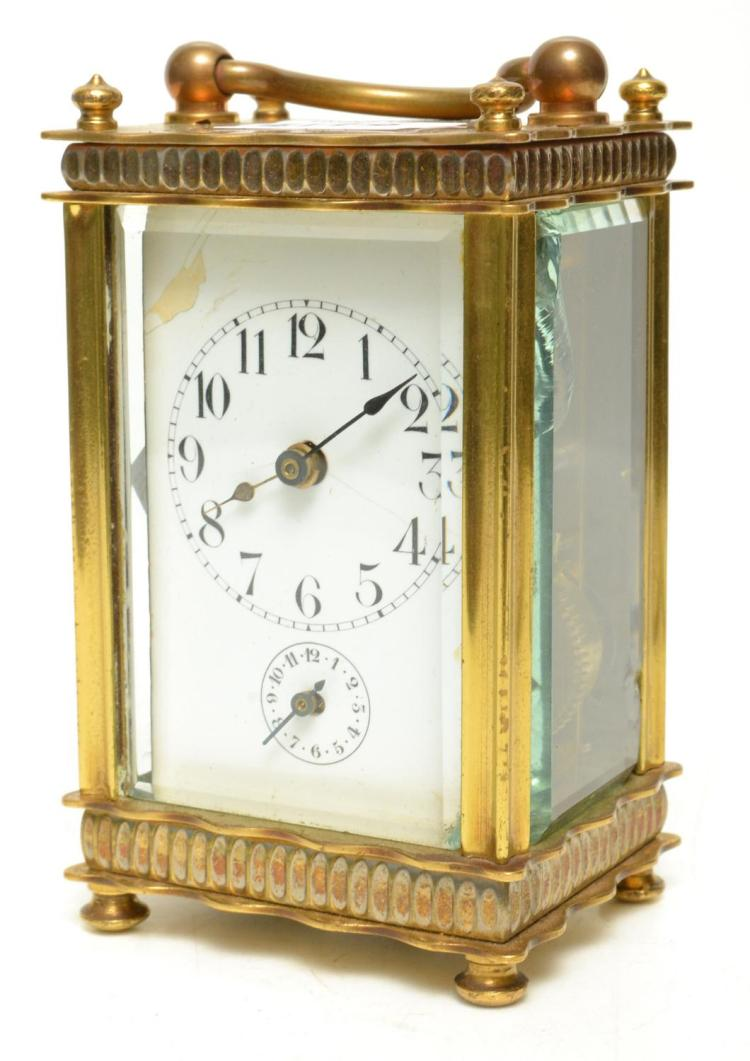 19TH CENTURY FRENCH MINIATURE BRASS CARRIAGE CLOCK WITH ALARM - WORKING WITH KEY