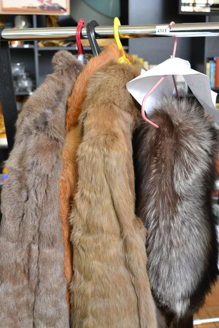 THREE FUR JACKETS AND A FUR STOLE, INCLUDING RABBIT