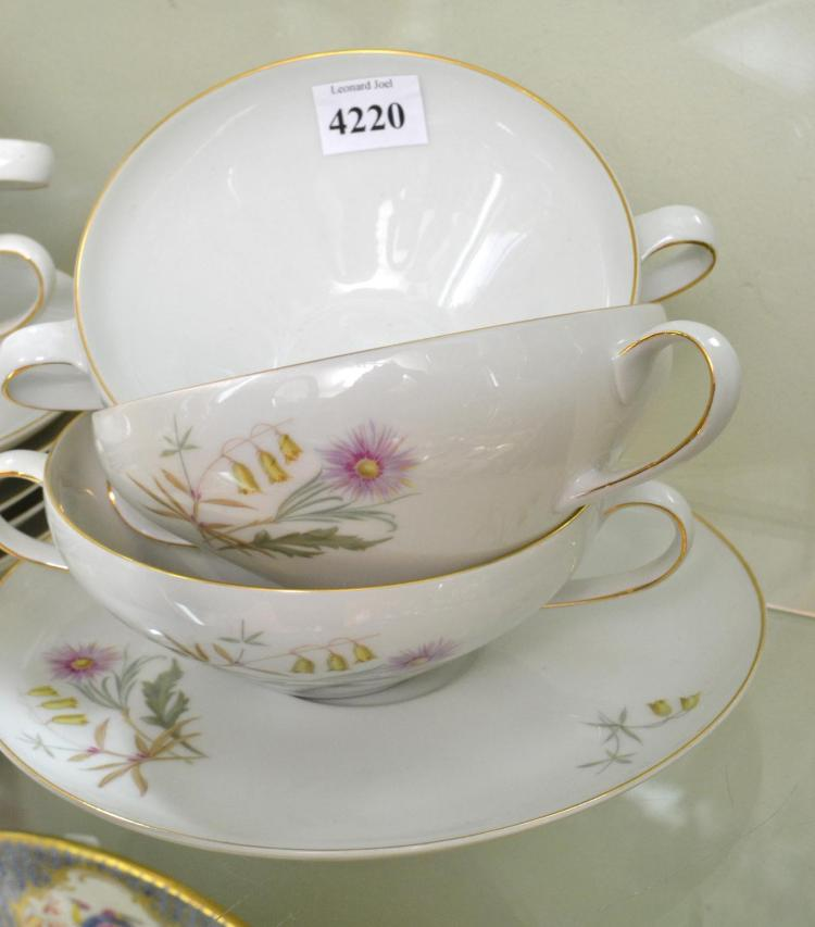 A GERMAN PORCELAIN SOUP SETTING FOR SIX