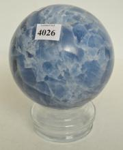 A BLUE CALCITE ORB, 11CM DIAMETER