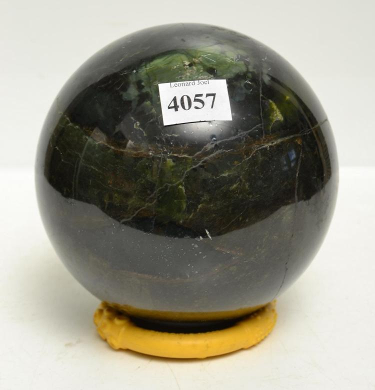 A MOSS AGATE ORB AND AN