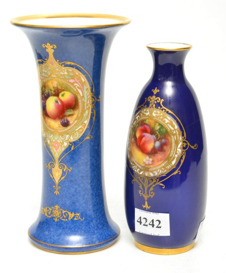 TWO 1930S ROYAL WORCHESTER FRUIT PAINTED COLBALT BLUE PORCELAIN VASES BY MOSELEY, SIGNED, TALLEST 15.5 CM