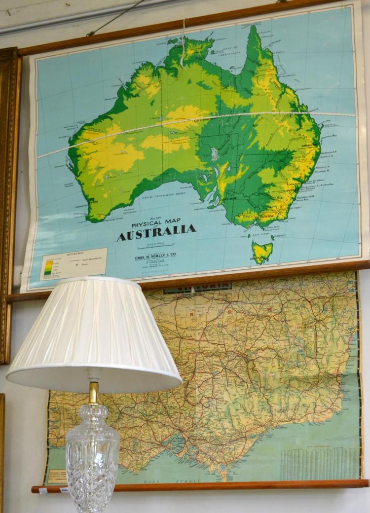 TWO VINTAGE CANVAS MAPS; AUSTRALIA AND VICTORIA