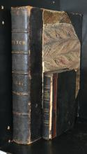 TWO 19TH CENTURY LEATHER BOUND BOOKS INCLUDING PUNCH