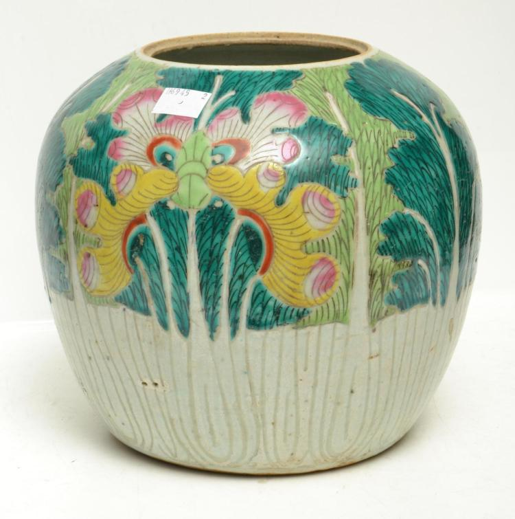 A GREEN GLAZED CHINESE GINGER JAR (LID MISSING)