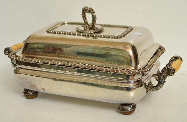 A PAIR OF EARLY VICTORIAN TERRINES, IVORY HANDLES AND CONKER FEET