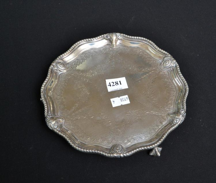A STERLING SILVER CARD TRAY WITH RAM HEAD MOTIFS C1867