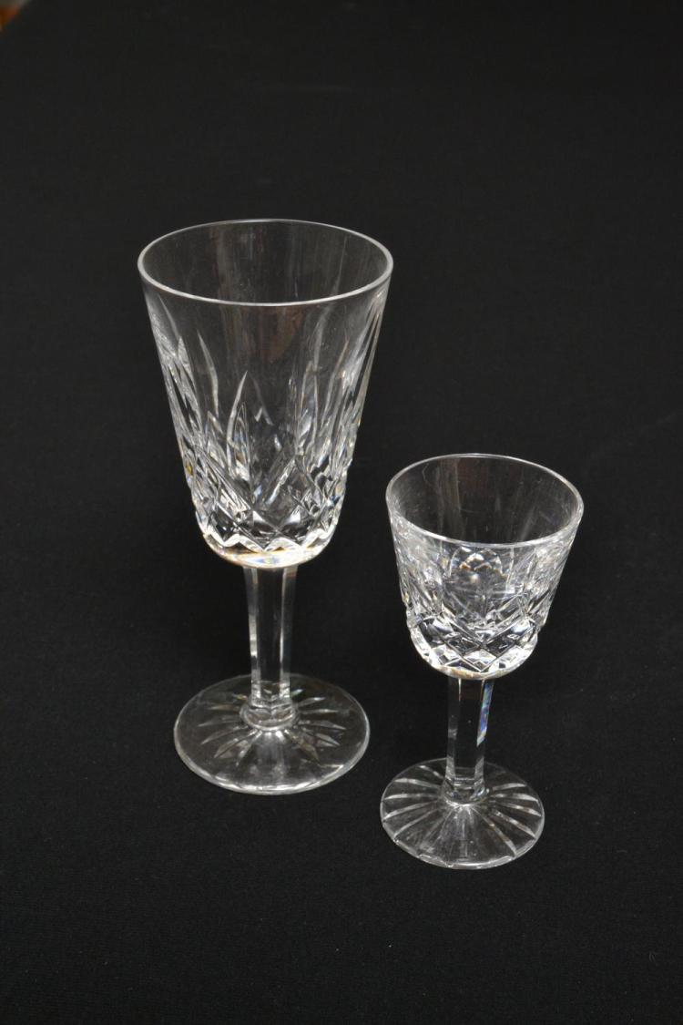 SIX WATERFORD 'LISMORE' SHERRY GLASSES & 6 WATERFORD 'LIQUER' GLASSES