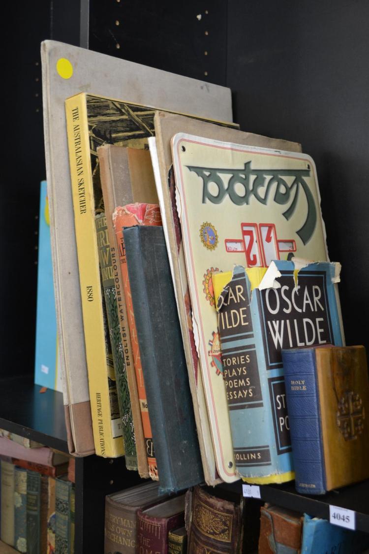 A SHELF OF ASSORTED BOOKS, INCL. THE AUSTRALIAN SKETCHER