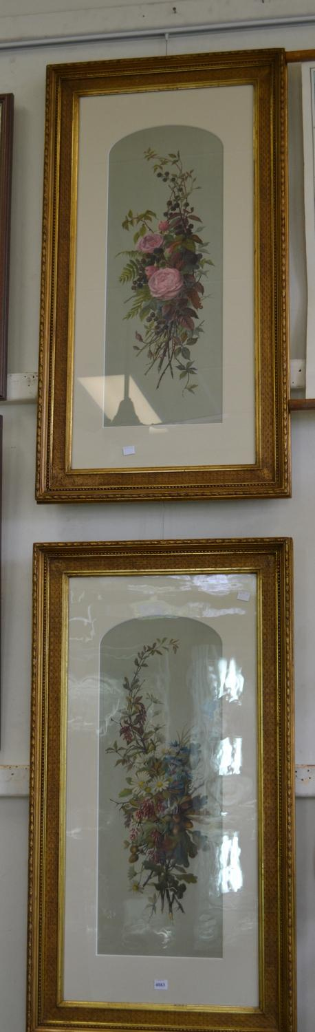 PAIR OF ORNATELY FRAMED BOTANICAL PRINTS
