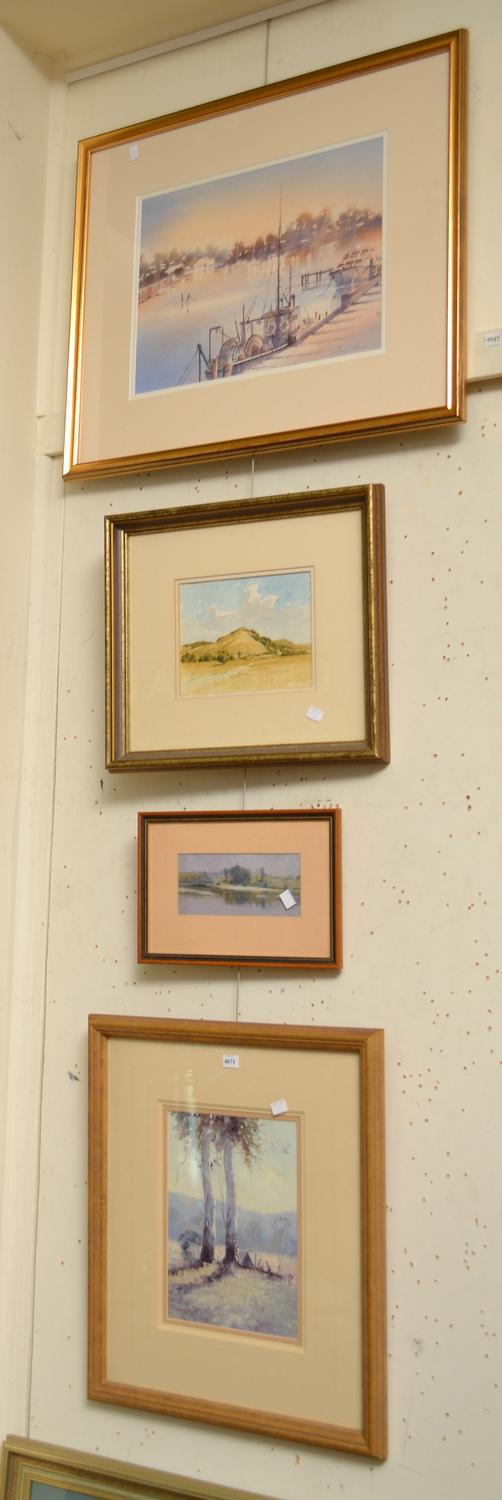A COLLECTION OF THREE WATERCOLOURS AND A OIL ON BOARD