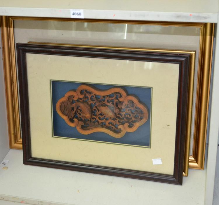 THREE ASIAN WOOD CARVINGS HOUSED IN BOX FRAMES