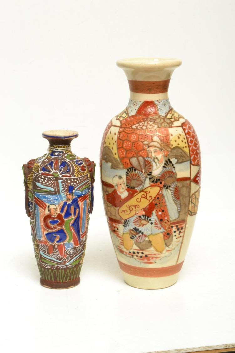 TWO JAPANESE MORIAGE VASES