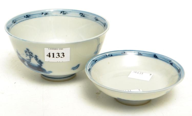 TWO BLUE AND WHITE BOWLS WITH COVERS PROPORTED TO BE QING
