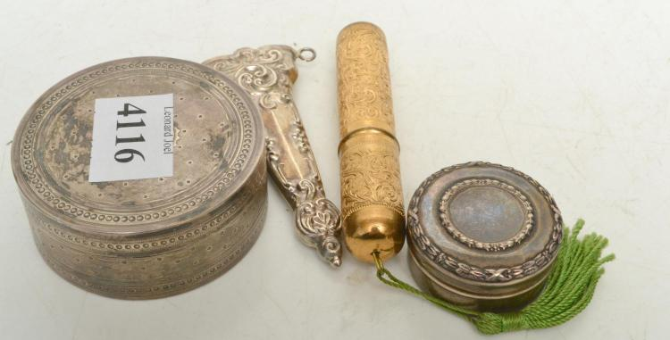 TWO SILVER PILL BOXES, A SILVER SHEATH AND A MANICURE SET