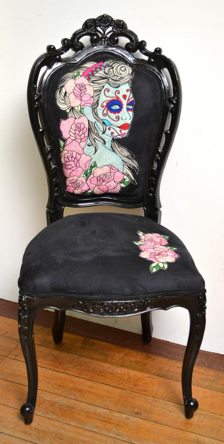 A VICTORIAN SALLOON CHAIR WITH HAND STITCHED MEXICAN SUGAR SKULL SCENE