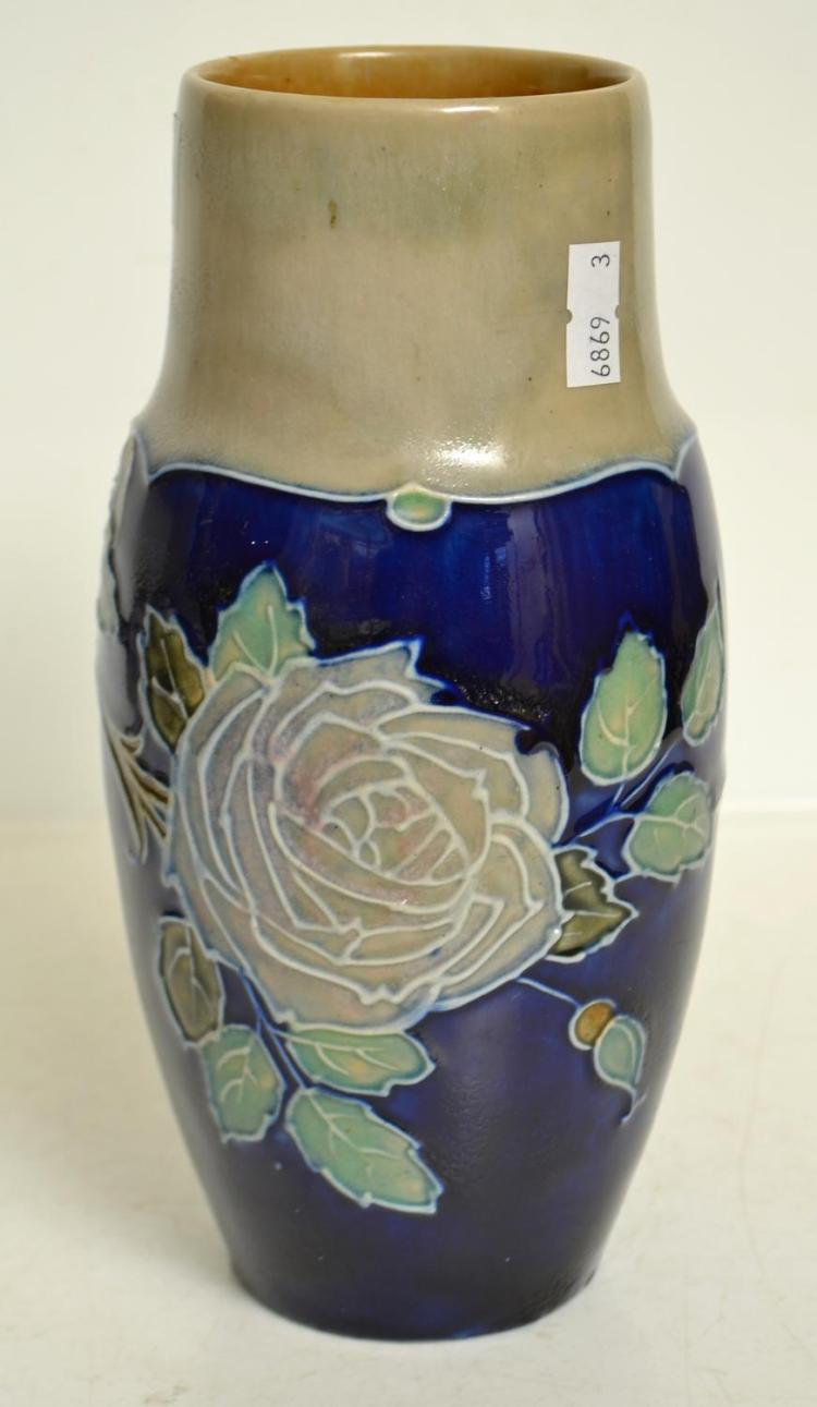 A PAIR OF DOULTON STONEWARE VASES, BLUE GROUND, FLORAL DECORATION