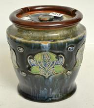 A ROYAL DOULTON STONEWARE TOBACCO JAR