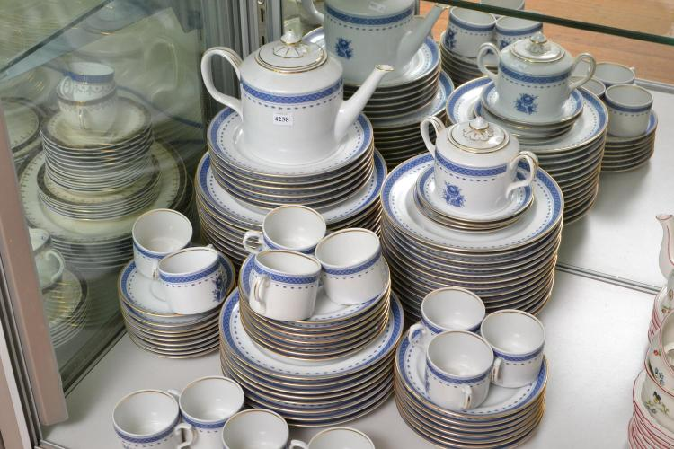 A PORTUGESE BLUE AND WHITE DINNER SET FOR TEN