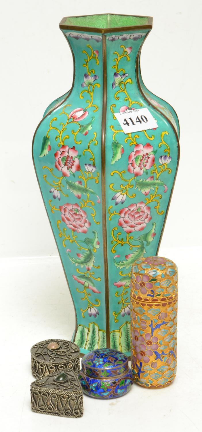 A COLLECTION OF CLOISONNE AND SILVERED PILL BOXES AND VASE
