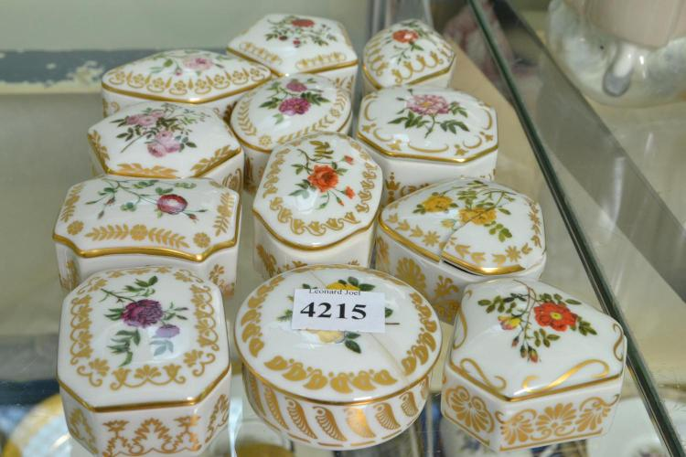 A COLLECTION OF PORCELAIN TRINKET BOXES (FAULTS)