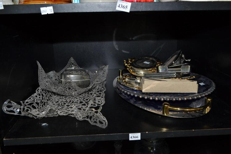 A SHELF OF ASSORTED SILVER PLATE INCLUDING TRAYS