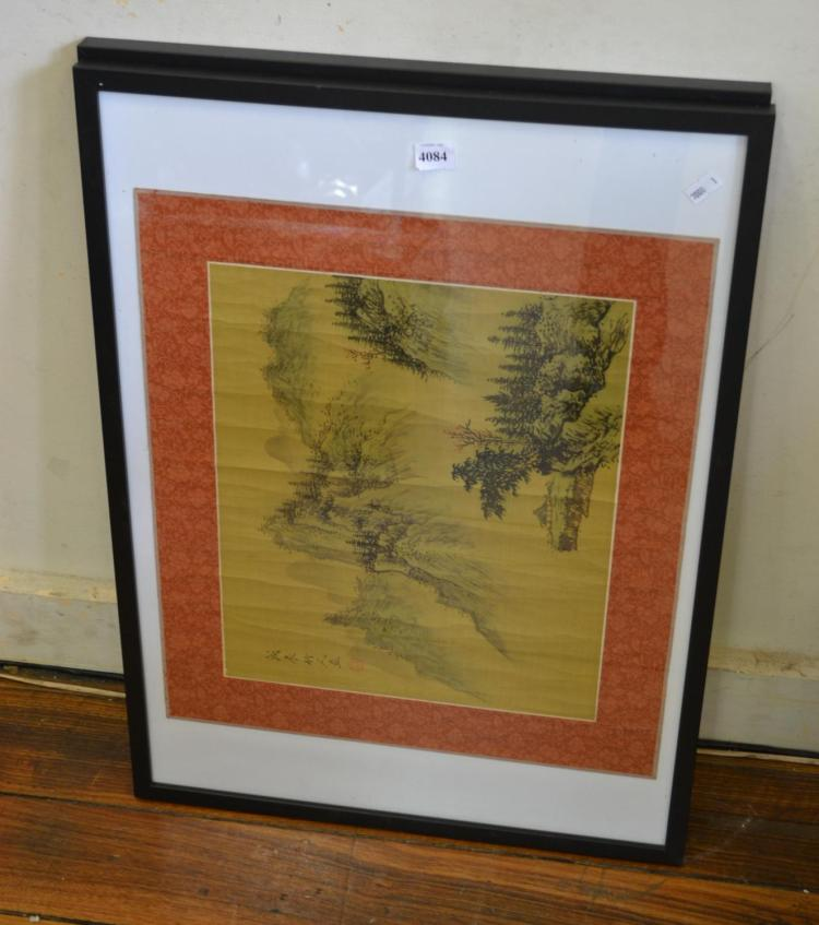 TWO FRAMED CHINESE WATERCOLOURS ON PARCHMENT