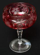 SET OF EIGHT CRANBERRY FLASHED ACID ETCHED CHAMPAGNE GLASSES