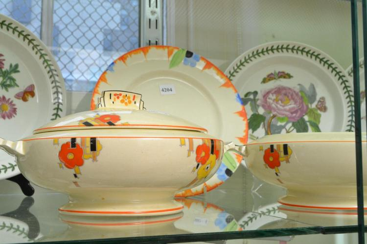 A COLLECTION OF DECO SERVING WARES