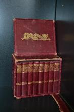 A LEATHER BOUND BOXED SET OF MINIATURE SHAKESPARE BOOKS (AF)