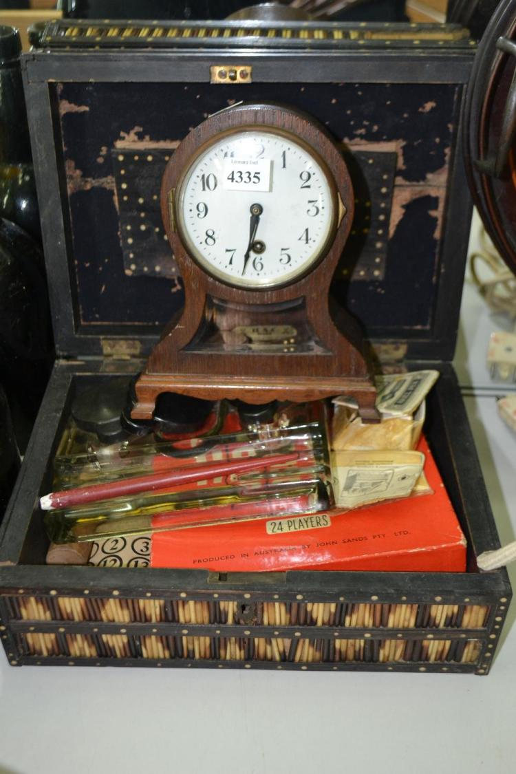 A PORQUPINE QUILL BOX WITH VINTAGE PARLOUR GAMES, PEN NIBS, AND A DESK SET TO INTERIOR AND A MANTEL CLOCK