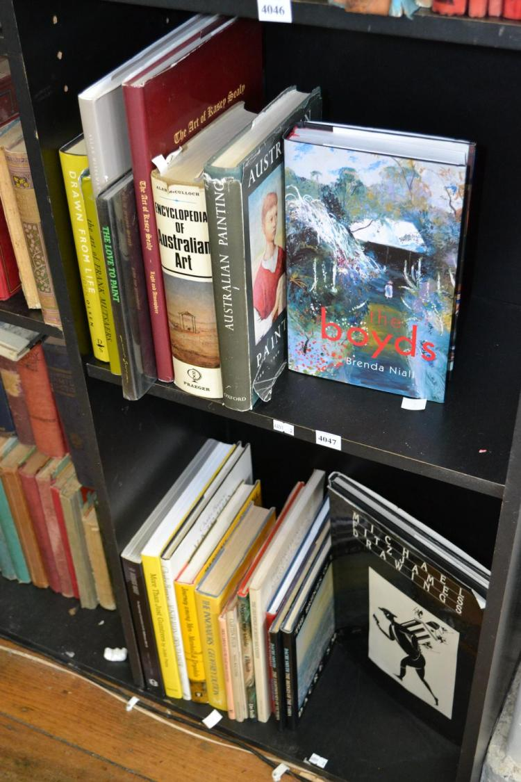 TWO SHELVES OF AUSTRALIAN ART REFERENCE INCLUDING KINGS WAY: THE BEGINNINGS OF AUSTRALIAN GRAFFITI AND CHARLES BANNON AUSTRALIAN PRI...