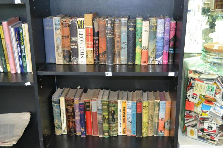 TWO SHELVES OF VINTAGE HARD COVER FICTION
