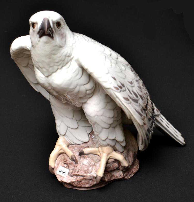 A BING AND GRONDAHL LIFE SIZE FALCON FIGURE