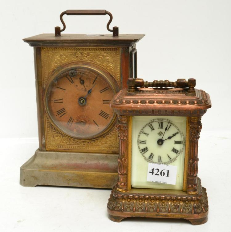 AN ANSONIA AND A AMERICAN CARRIAGE CLOCK (FAULTS) ONE KEY WITH STAFF
