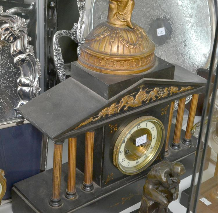 A GERMAN MANTLE CLOCK WITH FIGURAL (KEY WITH STAFF)