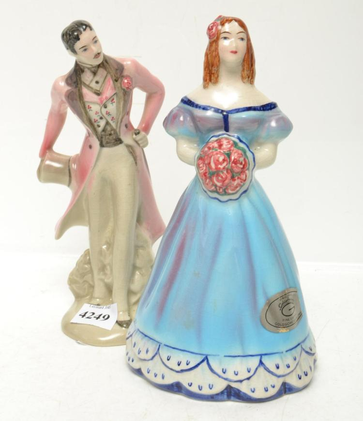 A PAIR OF GOLD SCHIEDER FIGURES INCLUDING YANKEE DOODLE DANDY
