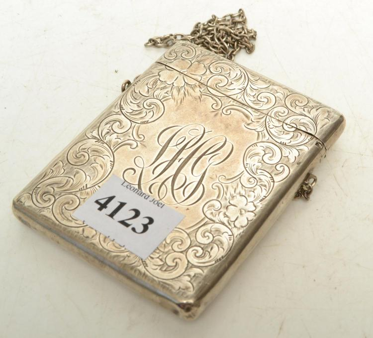 AN AMERICAN STERLING SILVER CARD CASE