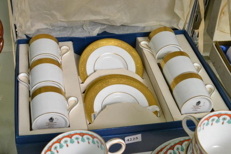 A BOXED WEDGWOOD DEMITASSE SET FOR SIX
