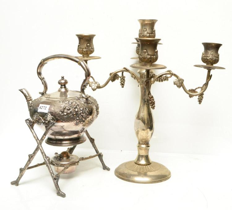 A SILVERPLATE SPIRIT KETTLE ON BRANCH STAND