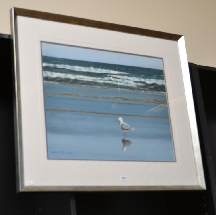 A ACRYLIC ON BOARD, BEACH AND SEAGULL SCENES