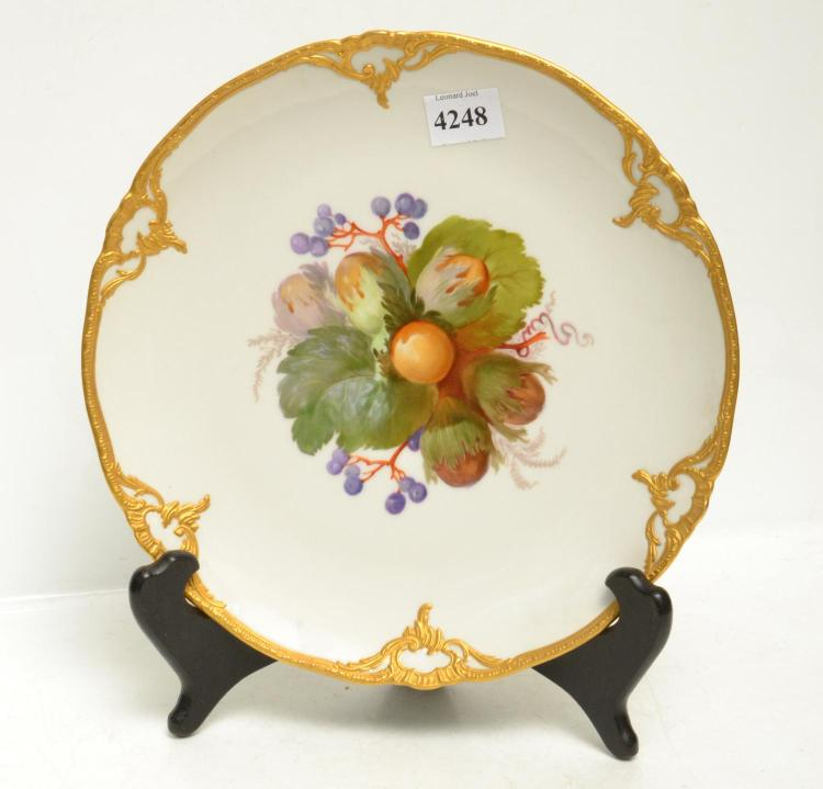TWO KPM BERLIN ROYAL PORCELAIN CABINET PLATES, HAND PAINTED BOTANICAL SCENES AND RAISED GILT BORDERS